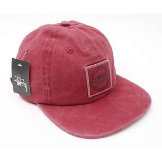 Stussy Maroon Wear Square Logo Straight Brim Golf Cap Hat Caps Hats with Adjustable Strapback