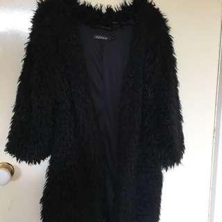 Black Faux Fur Fluffy Cardigan Size 8