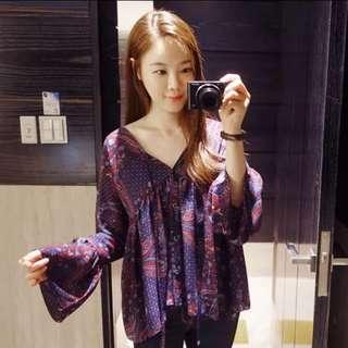 韓國正品 花紋襯衫 現貨
