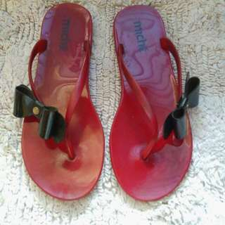Red Jelly Slippers with Ribbon