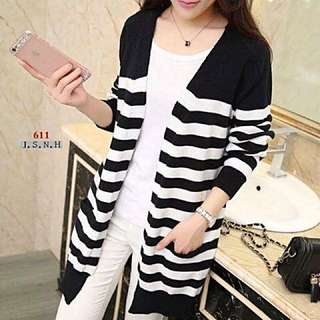 Black-white Long Cardigan