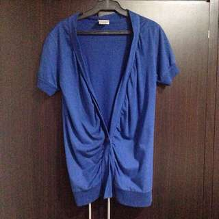 Blue Short Sleeves Cardigan
