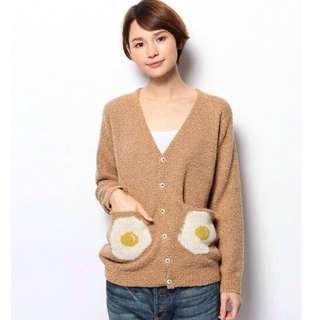 💫日本設計師品牌I AM I可愛的荷包蛋針織外套-焦糖
