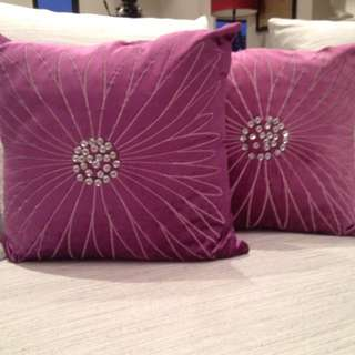 Purple Cushion With Diamantés