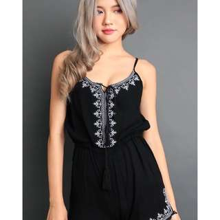 Wonderstellar Mid Night Sky Black Embrioded Romper