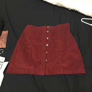 Maroon Red Velvet Material Skirt