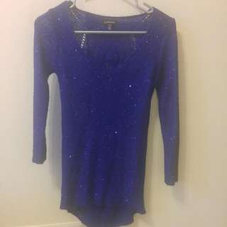 Le Chateau Sequined Blue Sweater Size XS (fits M)