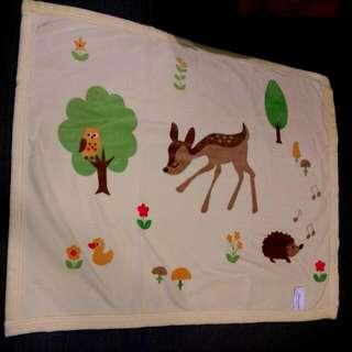 小花鹿透氣雙面棉毯