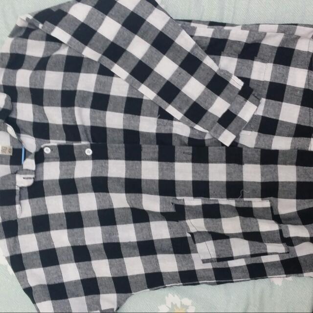 麻料黑白格子襯衫