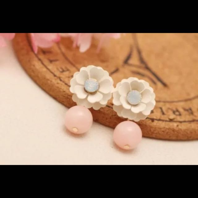 無耳洞耳夾 耳環 水鑽雛菊小花粉色珍珠吊墜垂墜