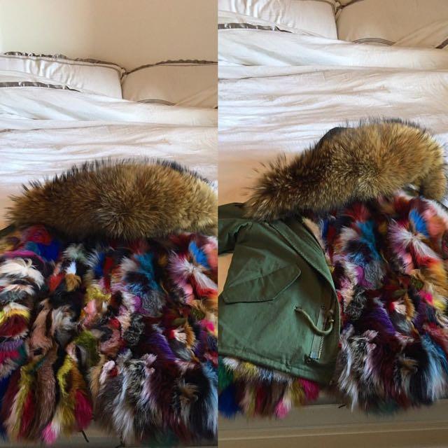 Beautiful Parka With rainbow Fur And Big Lux Raccoon hood