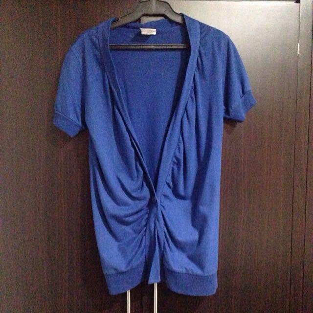 Blue Short Sleeves Cardigan