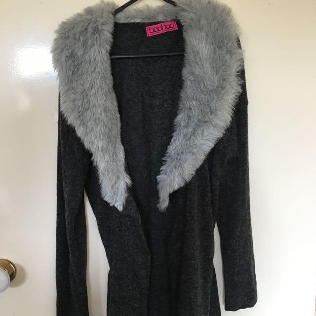 BooHoo Grey Faux Fur Cardigan