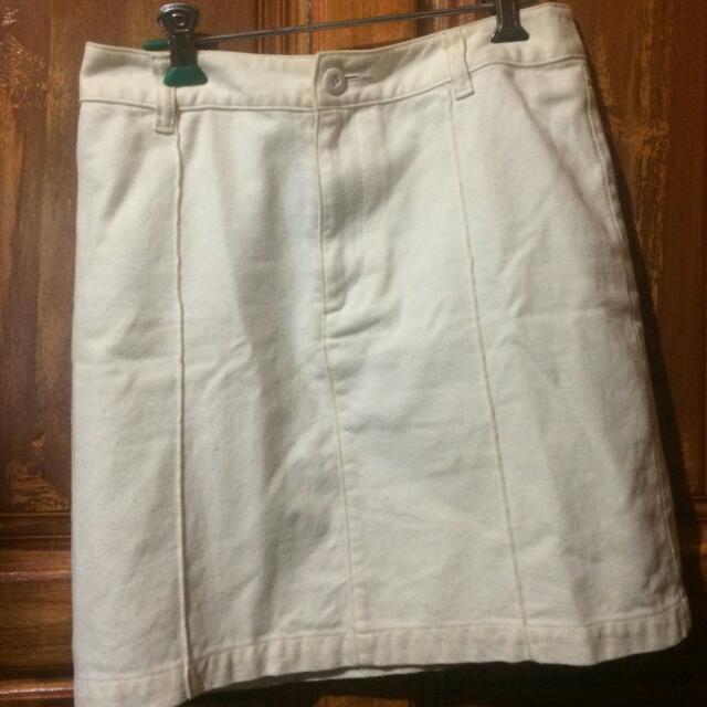 Broken White Jeans Mini Skirt
