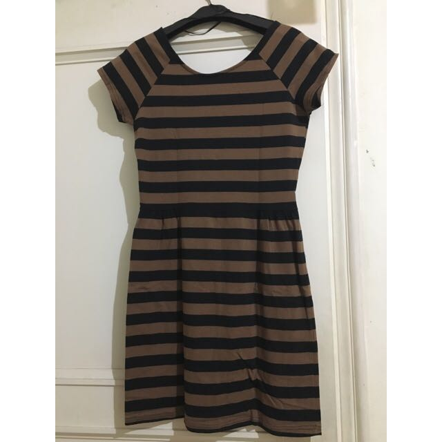 Brown Black Strip Dress - Cotton On