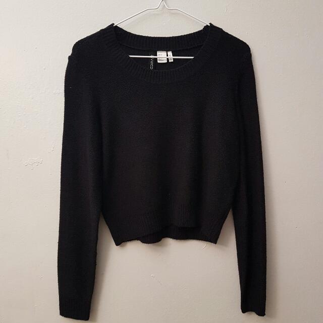 Cropped Black Knit Sweater