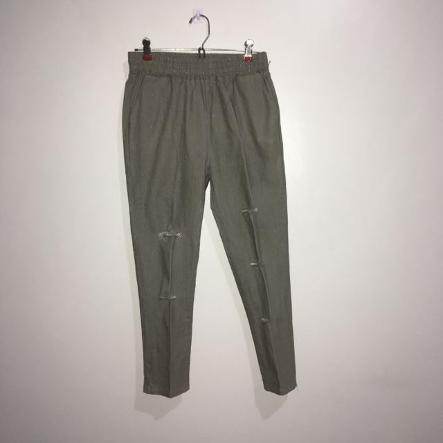 Distressed Pants (Khaki Green)