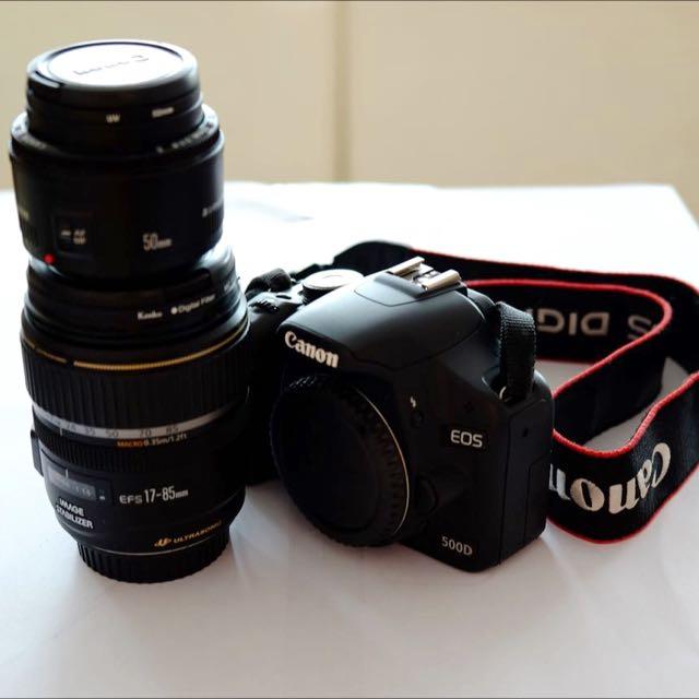 DSLR Canon 500D Body + Lens 17-85mm + Lens 50mm