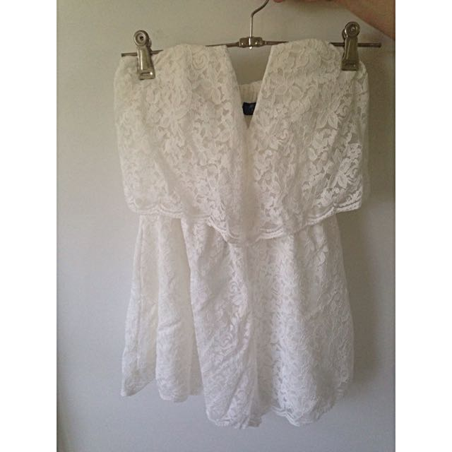 Esther Boutique White Lace Playsuit Size 8