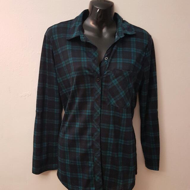 Green Side Slit Flannel