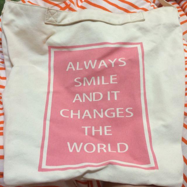 Gu 粉紅色可愛棉質購物包