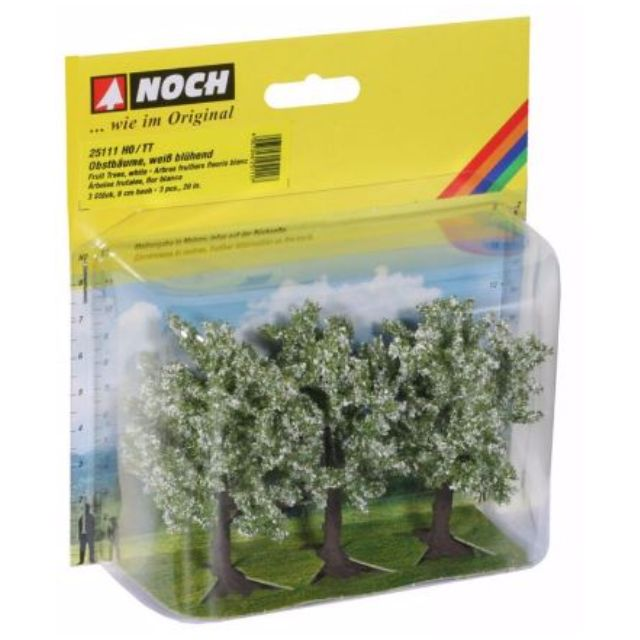 "[H0 1/87] Model Trees ""Fruit Trees White"", set of 3 with different shapes [Noch] NEW"