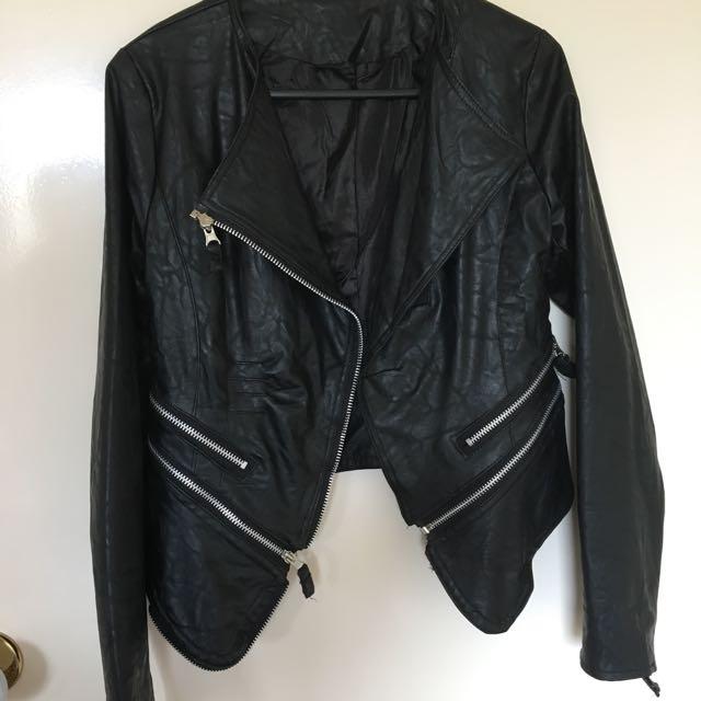Handmade Faux Leather Jacket Size 6