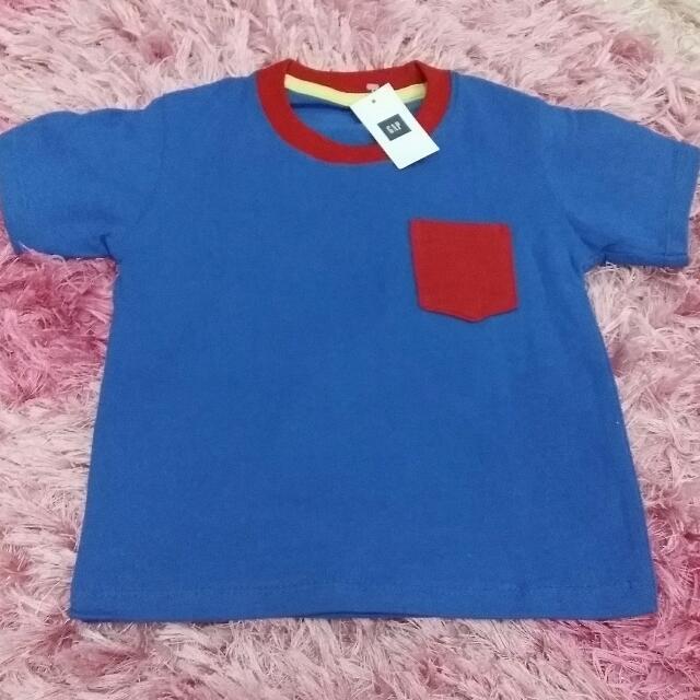Kaos Polos Kantong GAP Anak Size 1 (Biru Tua)