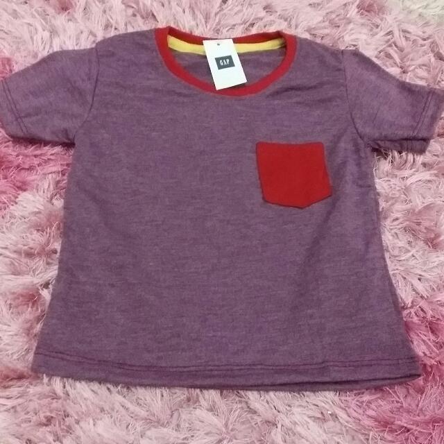 Kaos Polos Kantong GAP  Anak Size 1 (Maroon)