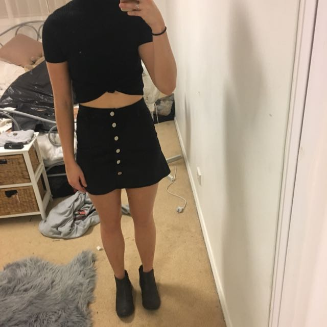 Lack Button Up Skirt