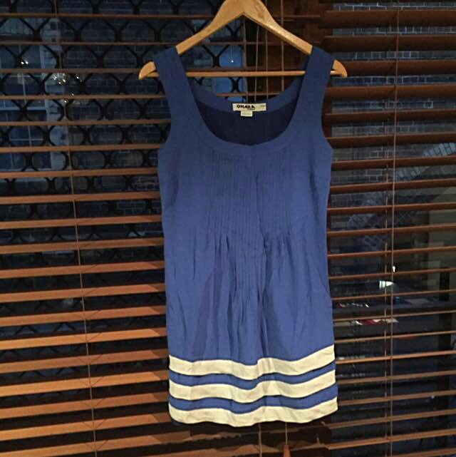 Ladies Blue Silk Dress - Sz8