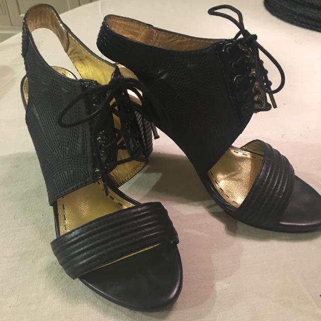 Mimco Black Leather High Herls