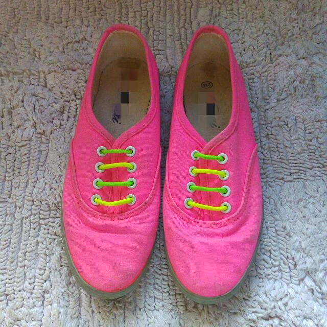 Neon Pink Canvass Shoes