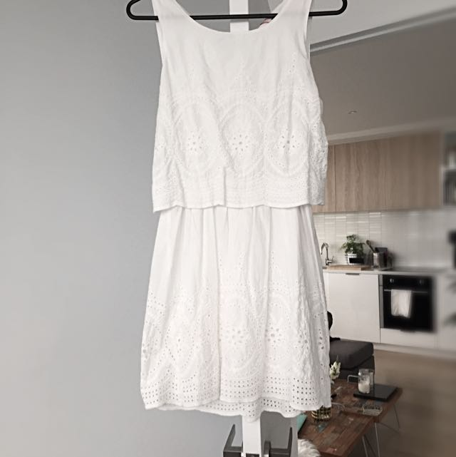 New Dress Crochet Lace White A Line Babydoll
