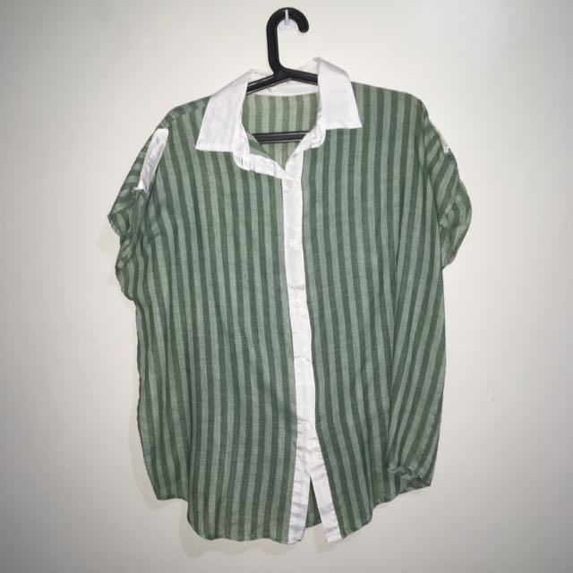 Oversized Button-Down Shirt (Green)