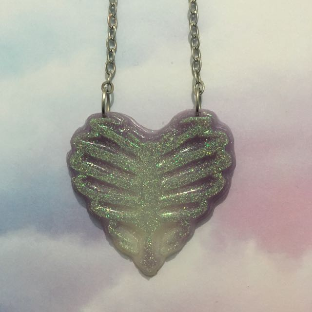 Pastel Heart Rib Cage Necklace By Capulet's Love
