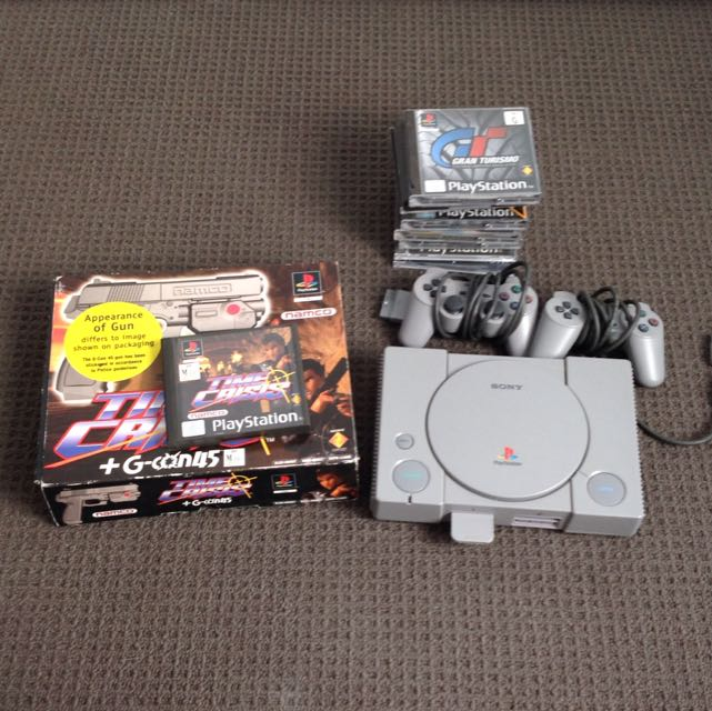 PS1 with Time Crisis Gun & Other Games
