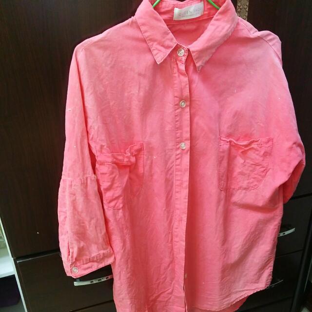 Queenshop粉紅襯衫