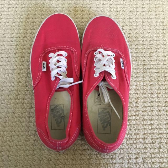 Red Vans Size US Women's 9.5