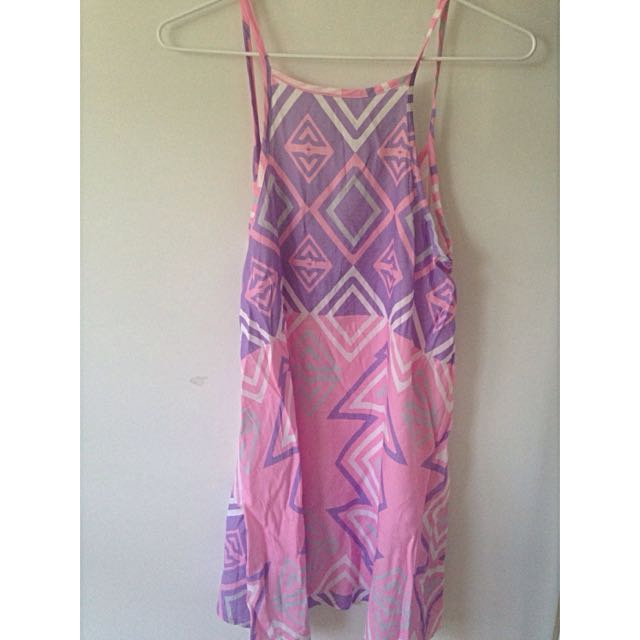 Sabo Skirt Purple And Pink Patterned Beach Dress Size Small