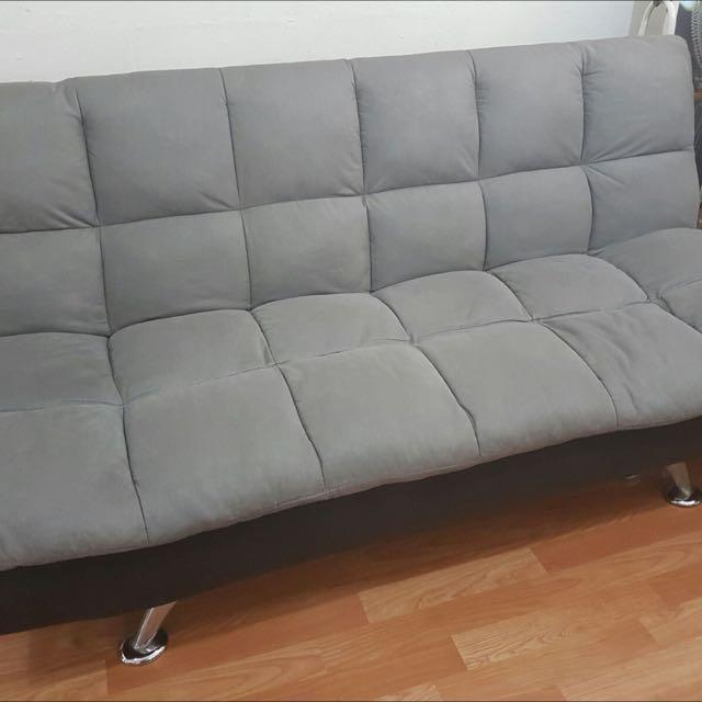 Sofa Bed Fuze Grey W Black Base