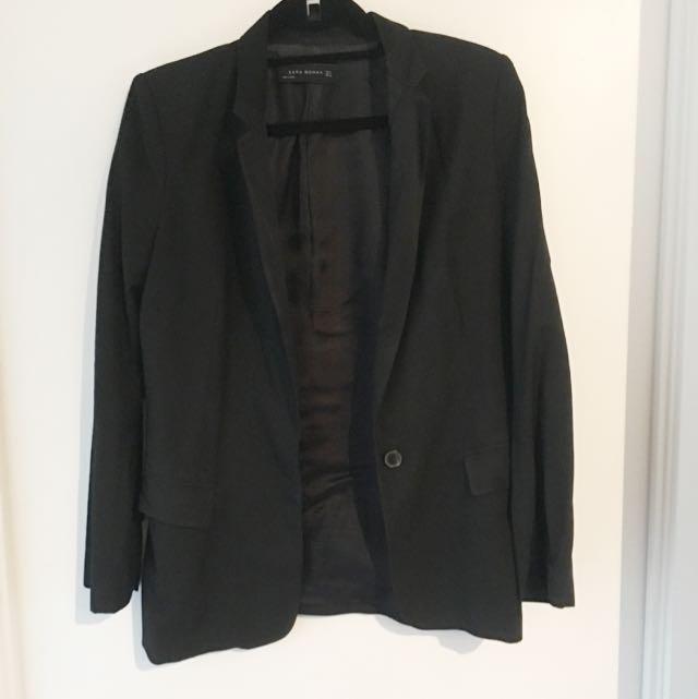 Zara Basics Black Long Blazer