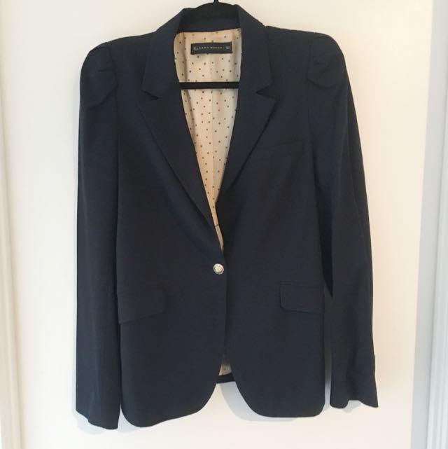 Zara Navy Long Blazer
