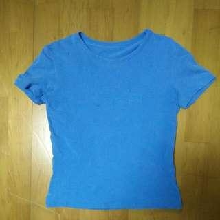 8成新 專櫃正品 CK Calvin Klein 經典款 Logo 萊卡 女生 短袖 T恤---藍(M)