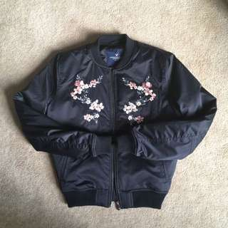 American Eagle Floral Bomber