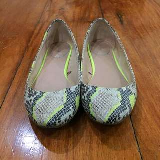 Bershka Animal Print Flats with Fluorescent Accent