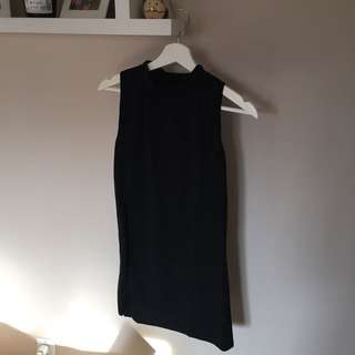 Black Mock Neck Tank Top with Slit