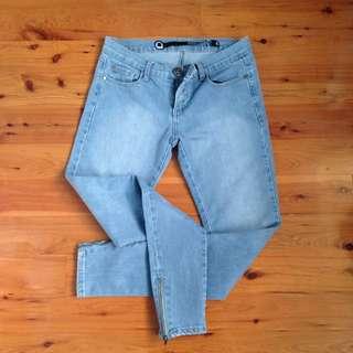 Denim Blue Skinny Jeans With Zip