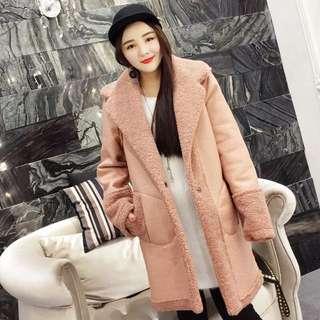 預購💡粉紅毛毛長版外套 D177