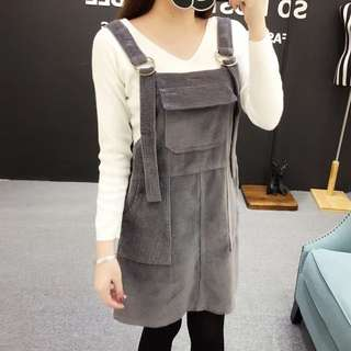 預購💡三色燈芯絨吊帶裙(綠/黑/灰)D180